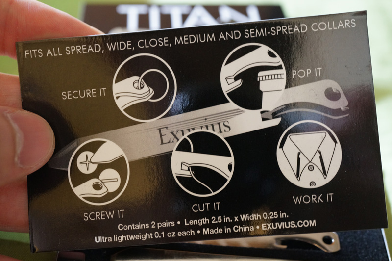 "These 100% titanium collar stays are made in...China? Oh right, I remember seeing them in a pirated version of ""0007 Jamie Bongo: On Her Dowager's Special Errand""."