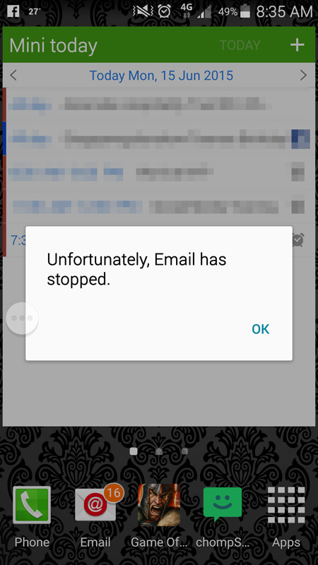 Sure, S Health may be an inconsequential app, but when the E-mail app keeps crashing, you know you have a problem. Get your act together Samsung.
